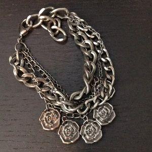 Jewelry - Super cute silver rose multiple chain bracelet.